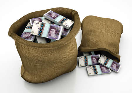 uk money: two 3D sacks of UK  money isolated on white background
