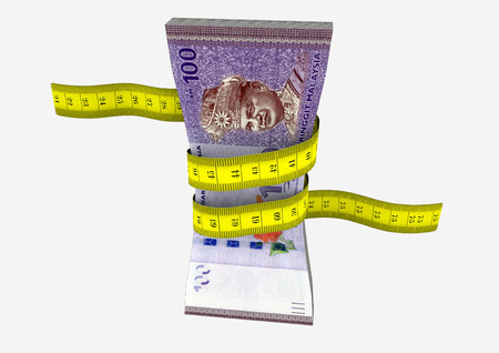 reduce risk: piles of 3D Rendered Malaysian money with with yellow measure tape isolated on white background