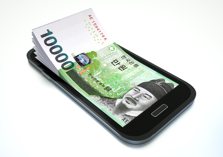 Mobile phone with South Korea money isolated on white background