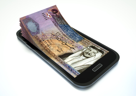 dinar: Mobile phone with Jordan money isolated on white background