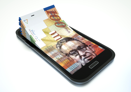 arabic currency: Mobile phone with Israel money isolated on white background