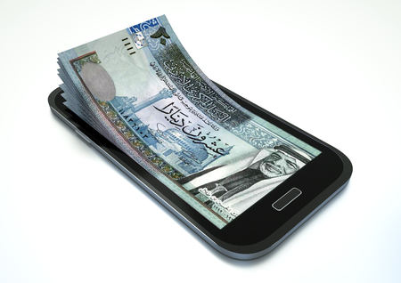 Mobile phone with Jordan money isolated on white background