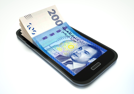arabic currency: Mobile phone with Morocco money isolated on white background Stock Photo