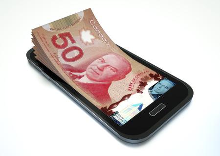 Handys mit Geld isoliert auf weißen Hintergrund
