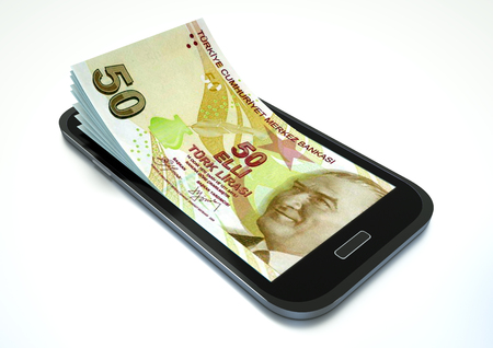 Mobile phone with Turkey money isolated on white background