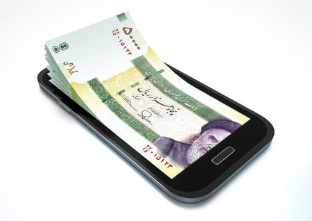 entrepreneurship: Mobile phone with Iran money isolated on white background Stock Photo