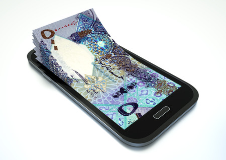 Mobile phone with Qatar money isolated on white background Stock Photo