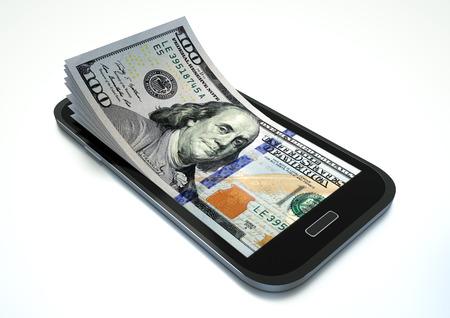 entrepreneurship: Mobile phone with USA money isolated on white background Stock Photo