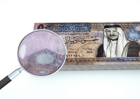 3D Rendered Kuwait money with magnifier investigate currency isolated on white background