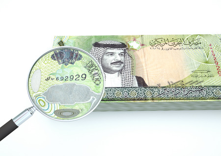 dinar: 3D Rendered Bahrain money with magnifier investigate currency isolated on white