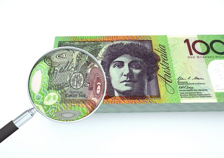 3D Rendered Australia money with magnifier investigate currency isolated on white Stock Photo