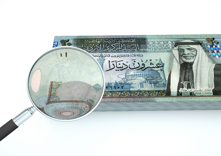 dinar: 3D Rendered Kuwait money with magnifier investigate currency isolated on white background