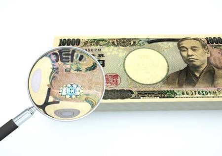 3D Rendered Japan money with magnifier investigate currency isolated on white background Stock Photo