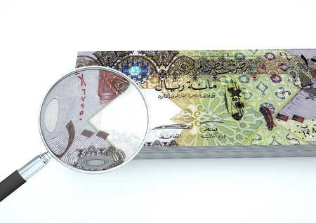 arabic currency: 3D Rendered Qatar money with magnifier investigate currency isolated on white background