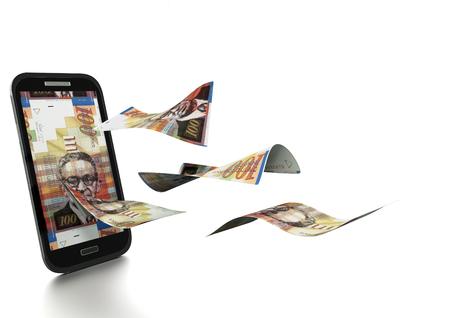 3D gerenderten Israel Geld gekippt und isoliert auf weißem Hintergrund