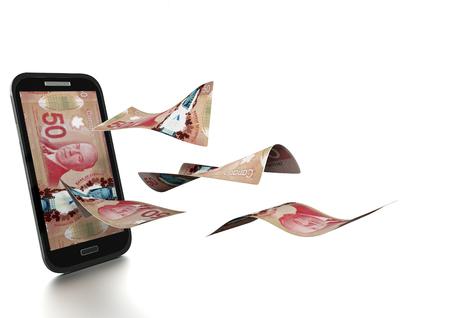 3D Rendus argent au Canada incliné et isolé sur fond blanc
