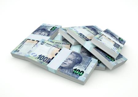 Stapel geld van Zuid-Afrika op witte achtergrond wordt geïsoleerd die