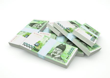Stapel geld van Zuid-Korea dat op witte achtergrond wordt geïsoleerd Stockfoto