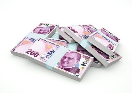 Stack of Turkey Money isolated on white background