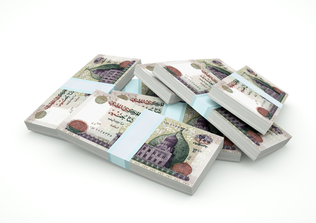 Stack of Egypt Money isolated on white background