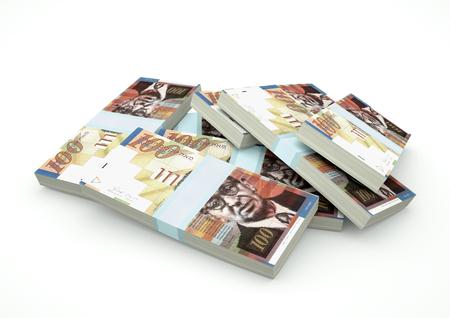 israel people: Stack of Israel Money isolated on white background Stock Photo