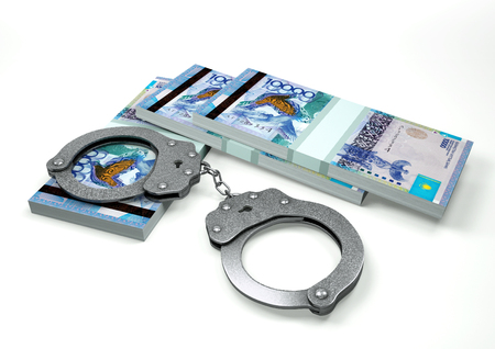 3D Rendering Kazakhstan money currencies with hands cuffs isolated on white background, corruption money