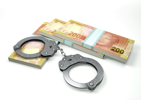 3D Rendering South Africa money currencies with hands cuffs isolated on white background, corruption money