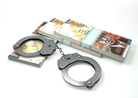 3D Rendering Israel money currencies with hands cuffs isolated on white background, corruption money