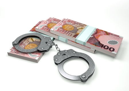 3D Rendering New Zealand money currencies with hands cuffs isolated on white background, corruption money