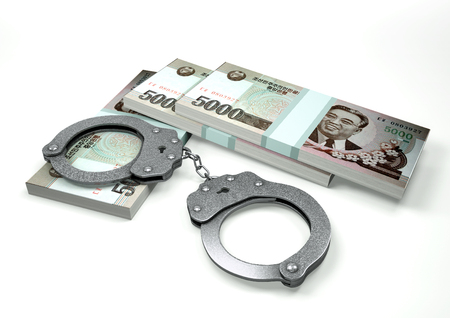 3D Rendering North Korea  money currencies with hands cuffs isolated on white background, corruption money