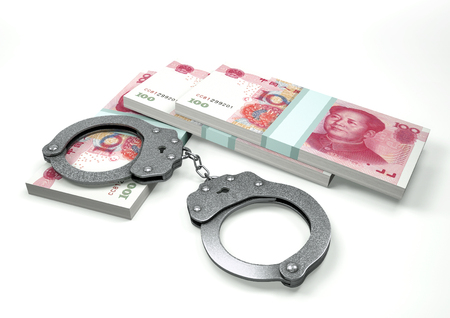 imprisonment: 3D Rendering China money currencies with hands cuffs isolated on white background, corruption money