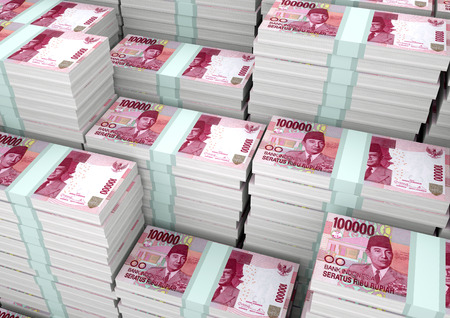 Piles of 3D rendering  3D Illustration Indonesia money 版權商用圖片