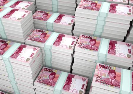 Stapels van 3D-rendering  3D illustratie Indonesië geld