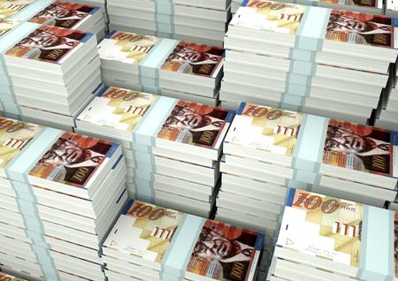 Piles of 3D rendering  3D Illustration Israel money