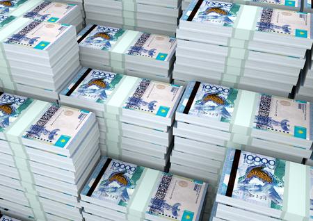 Piles of 3D rendering  3D Illustration Kazakstan money