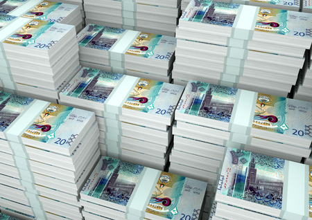 Piles of 3D rendering  3D Illustration Kuwait money