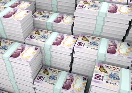 Piles of 3D rendering  3D Illustration Mexico money
