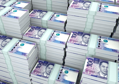Piles of 3D rendering / 3D Illustration Philippines money