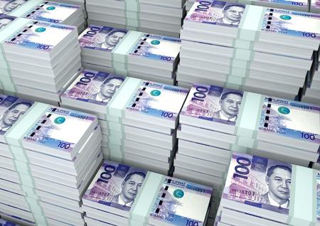 Stapels van 3D-rendering  3D illustratie Filippijnen geld Stockfoto