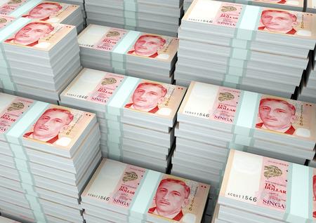 3Dレンダリングの山3Dイラストシンガポールのお金