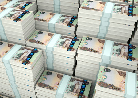 Piles of 3D rendering / 3D Illustration United Arab Emirates money Stock fotó - 89365495