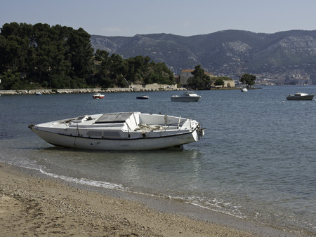 toulon: boat on the beach Stock Photo