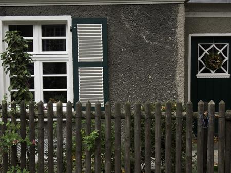 gable house: fence Stock Photo