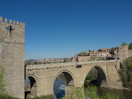 tagus: bridge in toledo Stock Photo