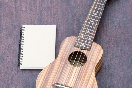 acoustic ukulele: ukulele with the notebook on wood background Stock Photo