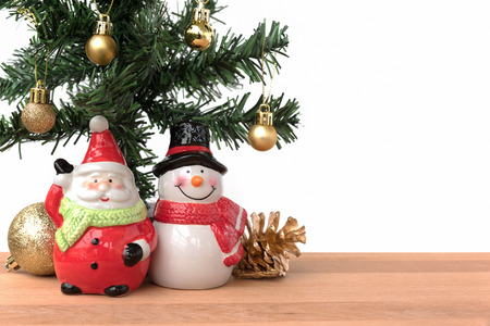 greeting season: Santa claus and snowman with the christmas tree and golden decoration, this is season greeting for joyful and happiness