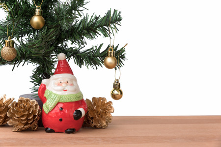 greeting season: Santa claus with the christmas tree and golden decoration, this is season greeting for joyful and happiness