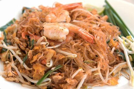padthai: Close-up thai noodle or padthai, garnish, vegetable, shrip,  Thailand traditional food and blur background