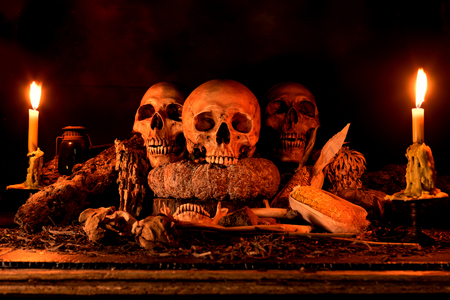 dry fruit: Still life painting photography with three skulls, dry fruit and hay, dark concept