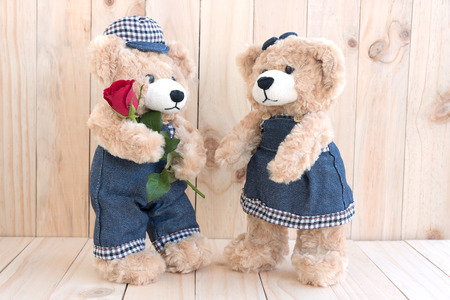 soul mate: two teddy bears with roses on wood background, love concept for valentines day, wedding and anniversary